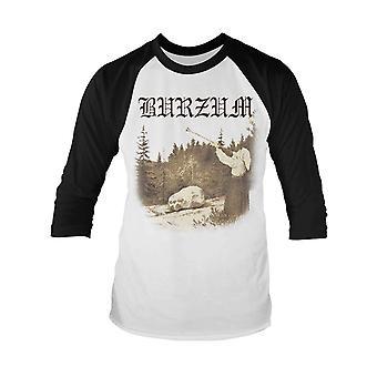 Burzum T Shirt Filosofem band logo new Official Mens White Baseball 3/4 Sleeve