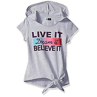RBX Girls' Big Performance Short Sleeve Tee, Believe Gray, 7/8
