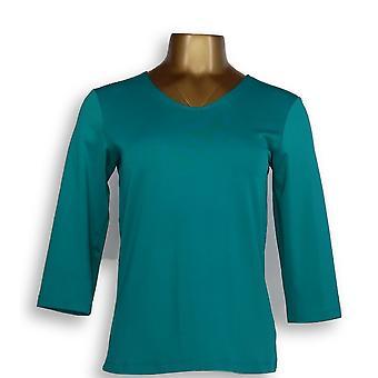 Susan Graver Women's Top XXS Essentials Butterknit 3/4 Sleeve Green A214177