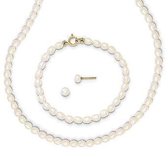 14k Yellow Gold Screw back Post Earrings White Freshwater Cultured Pearl 14 In. Necklace Bracelet and Earrings Set