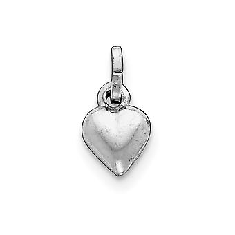 925 Sterling Silver Hollow Polished Puffed Love Heart Charm Pendant Necklace Jewelry Gifts for Women