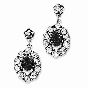Plata tono flores negras y cristal claro post larga gota colgante pendientes regalos de joyería para las mujeres