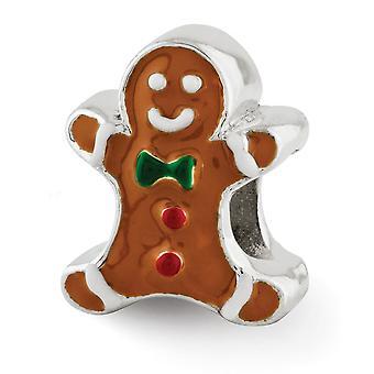 925 Sterling Silver Polished finish Reflections Esmaltado Gingerbread Man Pingente Pingente Colar de Jóias Colar de Jóias para W