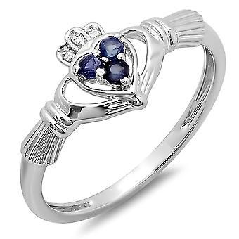 Dazzlingrock samling 10K hvid diamant & blå safir brude irsk kærlighed Claddagh hjerte løfte ring, hvid guld