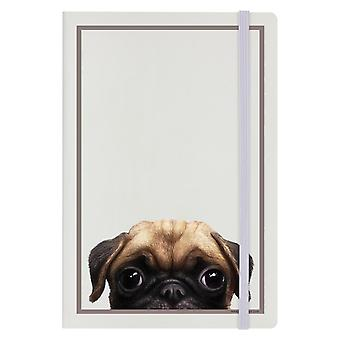Inquisitive Creatures Pug A5 Hard Cover Notebook