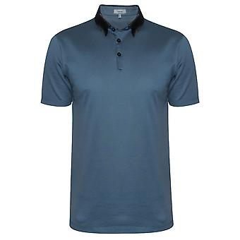 Lanvin metallic blauwe Grosgrain slim fit Piquí © Polo shirt