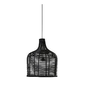 Ljus & levande hängande pendel lampa D42x52cm Britt rotting svart