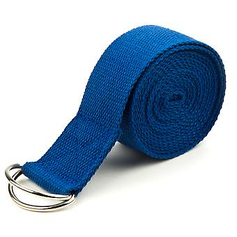 Blue 8' Cotton Yoga Strap with Metal D-Ring