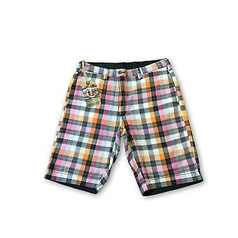 Tailor Vintage reversible shorts in navy/multi check