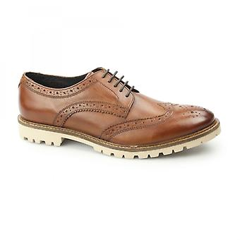 Base London Raid Mens Washed Leather Derby Brogues Tan