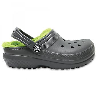 Crocs 203506 Classic Lined Kids Warm Lined Clogs Slate Grey/volt Green