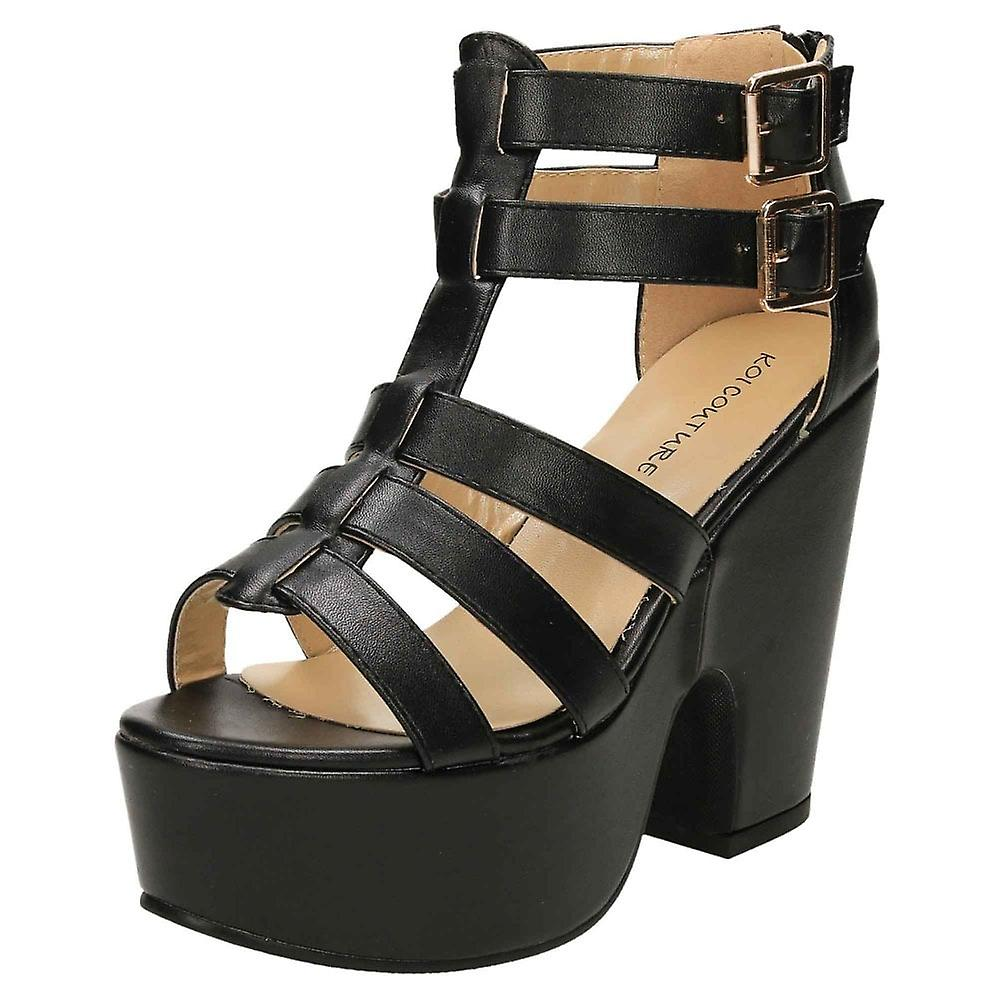 Koi Footwear Chunky Platform High Heel Gladiator Sandals Shoes