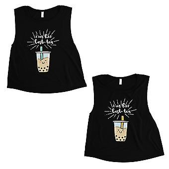 Boba Milk Best-Tea Womens Black Crop Top Funny BFF Matching Gift
