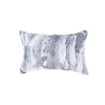 """5"""" x 12"""" x 20"""" 100% Natural Rabbit Fur Grey Pillow"""