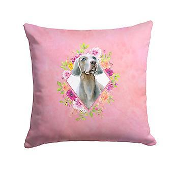 Weimaraner Pink Flowers Fabric Decorative Pillow