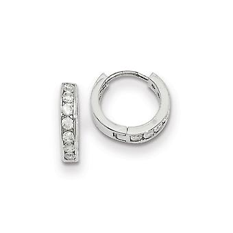 Hinged Gift Boxed Rhodium plated Channel Set CZ Cubic Zirconia Simulated Diamond Brincos Joias Joias Para Mulheres