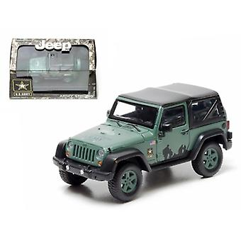 2012 Jeep Wrangler U.S. Army Hard Top Dark Green With Display Showcase 1/43 Diecast Model par Greenlight