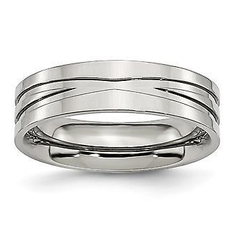 Acero inoxidable grabado ranurado 6mm pulido banda anillo joyería regalos para las mujeres - tamaño del anillo: 6 a 13