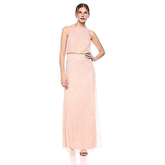 Adrianna Papell Women's Halter Art Deco Beaded Blouson Dress,, Blush, Size 16.0