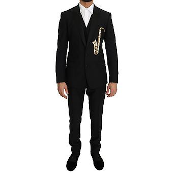Dolce & Gabbana Black Wool Silk Saxofoon Slim Fit Pak
