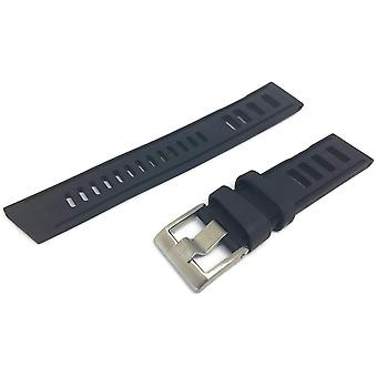 Black diving watch strap vintage ladder style size stainless steel buckle