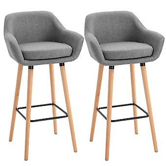 HOMCOM Modern Upholstered Fabric Seat Bar Stools Chairs Set of 2 w/ Metal Frame, Solid Wood Legs Living Room Dining Room Furniture - Grey