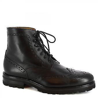 Leonardo Shoes Men's handmade lace-ups brogues ankle boots black calf leather