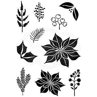 Woodware Polymer Stamp Clear Singles Poinsettia Mix | Set of 10