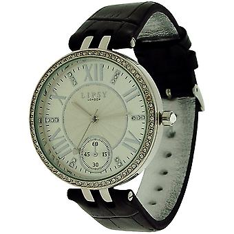 Lipsy Womens Crystal Bezel Silver Tone Dial Black PU Strap Watch LP293