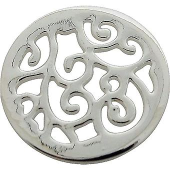 TOC Silvertone Swirl Design Coin for Interchangeable Locket Pendant