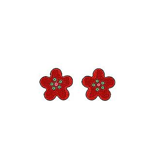 TOC Girls Sterling Silver Red Flower Stud Earrings