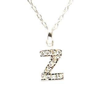 TOC Sterling Silver Clear Rhinestone Set Initial 'Z' Pendant Necklace 18