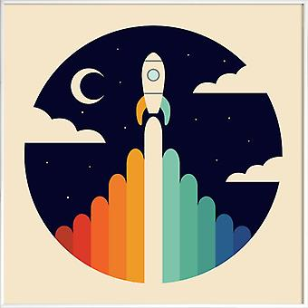 JUNIQE Print - Up - Spaceships & Rockets Poster in Colorful & Cream White