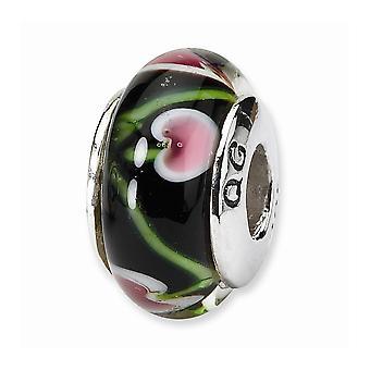 925 שטרלינג כסף מלוטש הרהורים שחור אדום זכוכית מוראנו חרוז תליון קסם שרשרת תכשיטים מתנות עבור Wom