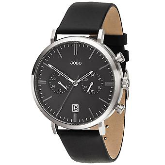 JOBO Men's Watch Quartz Analog Stainless Steel Leather Strap Date Men's Watch
