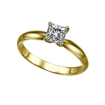 Moissanite Ring Forever One 0,40 CT 4,00 MM 14K Gelb Gold Solitaire Classic Prinzessin