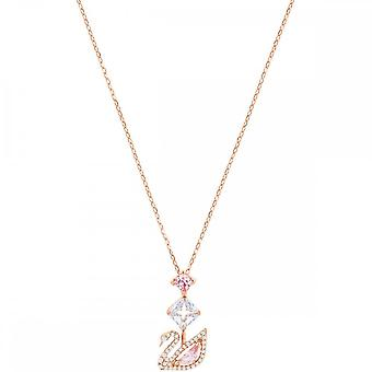 Swarovski εκθαμβωτικό κύκνο ροζ χρυσό με ροζ & λευκό κολιέ κρύσταλλο