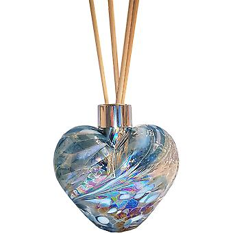 Amelia Art Glass Heart Shaped Reed Diffuser Teal & White
