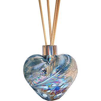 Szív alakú reed diffúzor teal & fehér amelia art üveg
