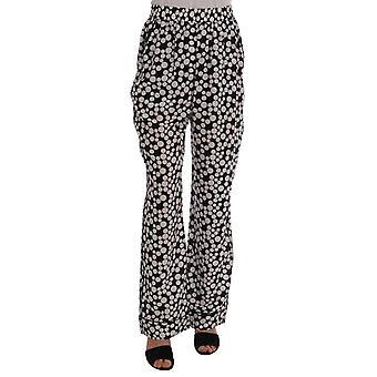 Dolce & Gabbana Black White Polka Dottes Silk Pants -- BYX1017776