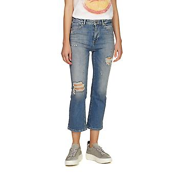 Only Women's Zia Hw Kick Flared Cropped Blue Jeans