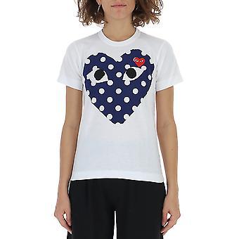 Comme Des Garçons Play P1t2331 Women's White Cotton T-shirt