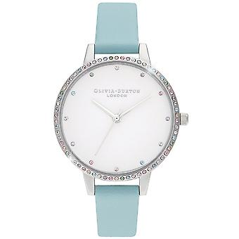 Olivia Burton Watches Ob16rb19 Rainbow Bezel, Turquoise And Silver Leather Ladies Watch