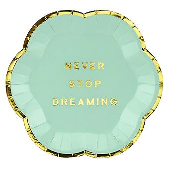 Green Paper Canape Plates 'Never Stop Dreaming' - Wedding / Party x 6