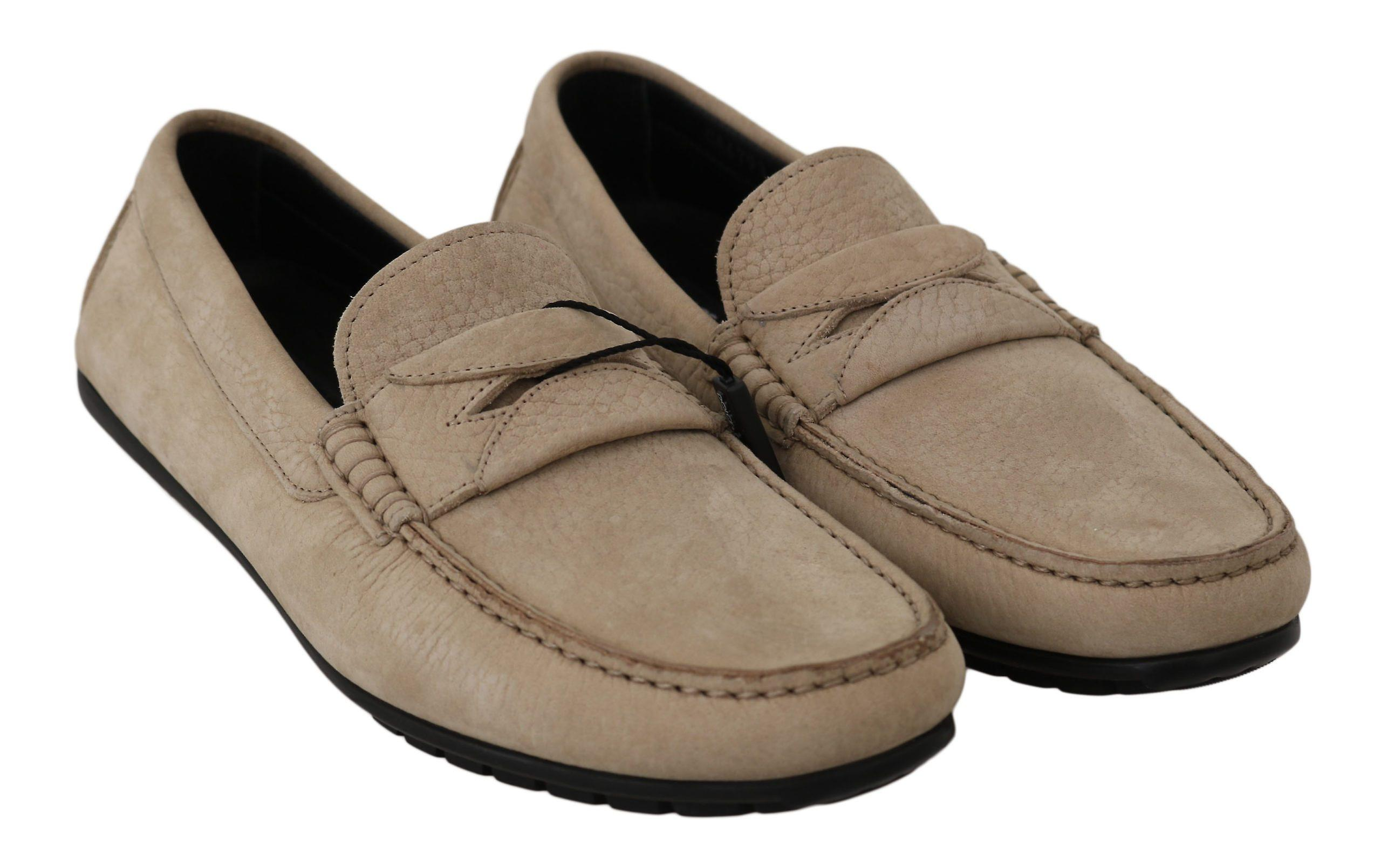 Dolce & Gabbana Beige Leather Flat Loafers Casual Mens Shoes MV2370-39