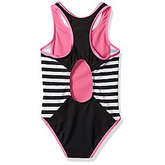 Big Chill Little Girls' One Piece Swimsuit with Fun Prints, Black, 4
