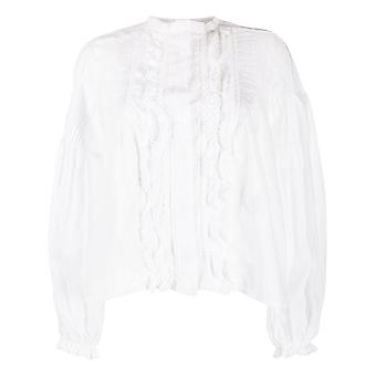 Isabel Marant ÉToile Ht167220p026i20whre Women's White Cotton Blouse