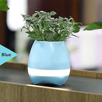 Bluetooth Speaker Real Plant Flower Pot Smart Music Touch Blue White
