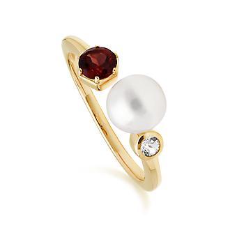 Modern Pearl, Garnet & Topaz Open Ring in Gold Plated Sterling Silver  270R058607925