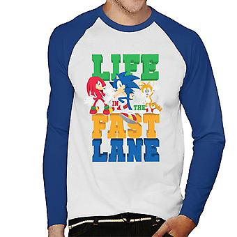 Sonic The Hedgehog Life In The Fast Lane Miesten's Baseball Pitkähihainen T-paita